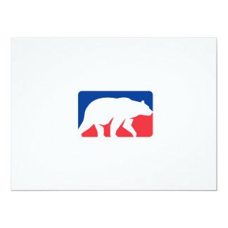 Retângulo de passeio da silhueta do urso de urso convite 16.51 x 22.22cm