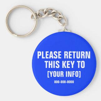 Retorne por favor esta chave com informação do chaveiro