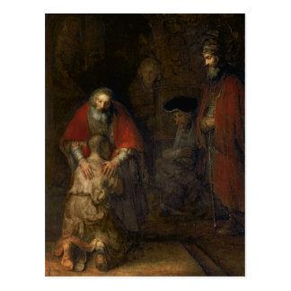 Retorno do filho Prodigal, c.1668-69 Cartão Postal