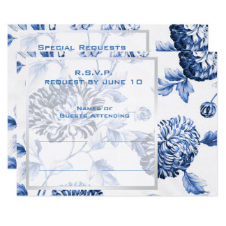Retorno floral botânico azul RSVP do convite