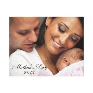 Retrato 2013 da família do dia das mães impressão de canvas envolvida