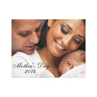 Retrato 2014 da família do dia das mães impressão de canvas envolvida