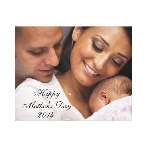 Retrato 2014 feliz da família do dia das mães impressão de canvas envolvidas