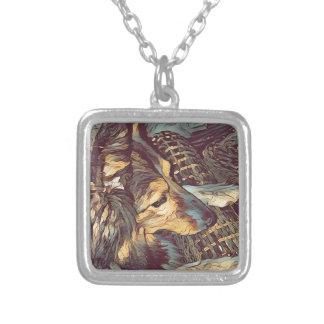Retrato artístico de Sheltie do Sheepdog de Colar Banhado A Prata