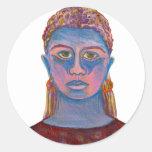 Retrato azul da mulher original adesivo em formato redondo