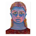 Retrato azul da mulher original cartao postal