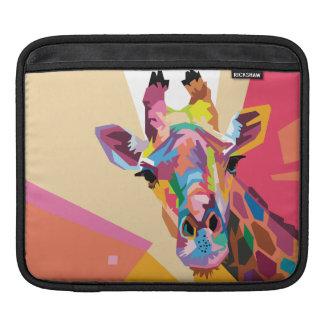 Retrato colorido do girafa do pop art bolsa para iPad