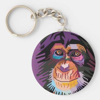 Retrato colorido do macaco do pop art chaveiro