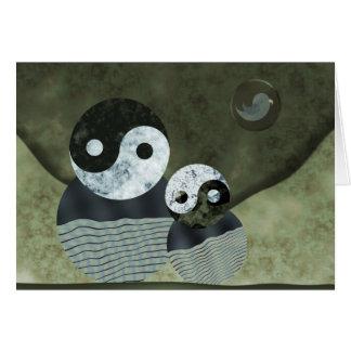 Retrato da família para o dia dos pais cartão