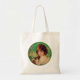 Retrato da forma da mulher das mulheres do vintage sacola tote budget