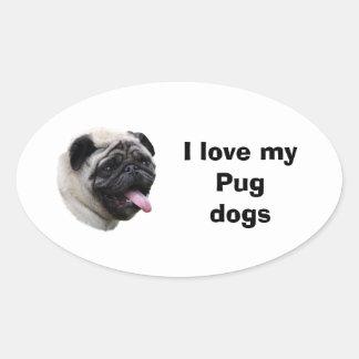 Retrato da foto do cão do Pug Adesivos Oval