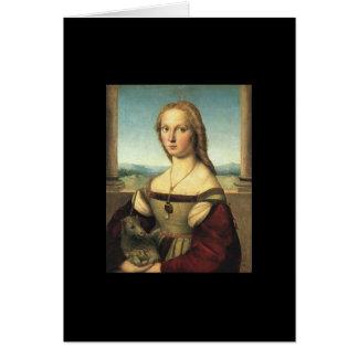 Retrato da jovem mulher com unicórnio cartão