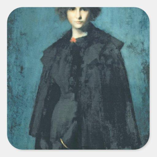 Retrato da senhora Laura Leroux Adesivo Em Forma Quadrada