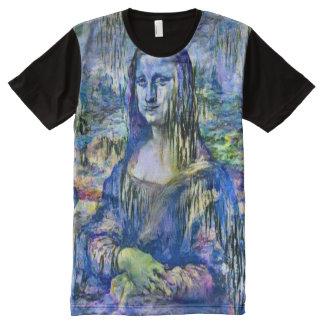 Retrato da versão do lírio de Mona Lisa Camisetas Com Impressão Frontal Completa