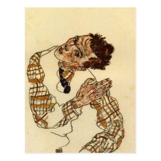 Retrato de auto de Egon Schiele- com camisa Cartão Postal