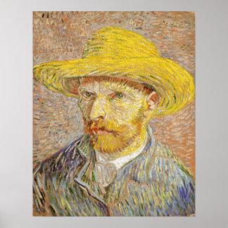 Retrato de auto de Van Gogh com o poster do chapéu Pôster