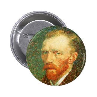 Retrato de auto, Vincent van Gogh, belas artes do Bóton Redondo 5.08cm