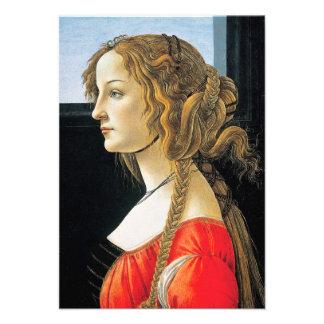 Retrato de Botticelli de convites de uma jovem mul
