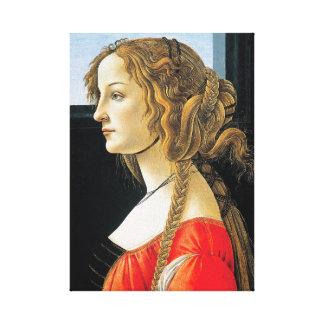 Retrato de Botticelli de uma jovem mulher
