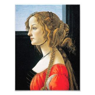 Retrato de Botticelli de uma jovem mulher Impressão De Foto