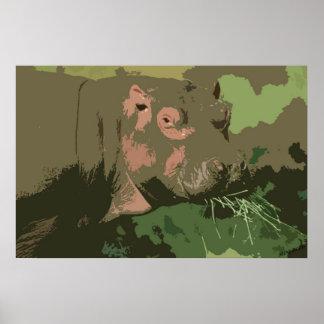 Retrato de Deco do hipopótamo Pôsteres
