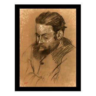 Retrato de Edgar Degas de Diego Martelli 2 Cartão Postal