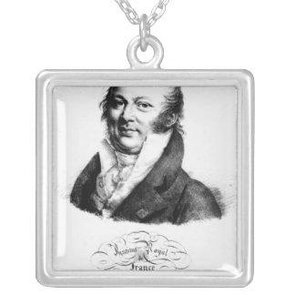 Retrato de Etienne Geoffroy Santo-Hilário Colar Com Pendente Quadrado