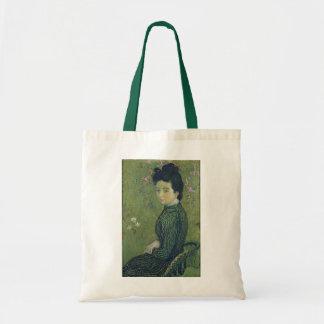 Retrato de Eva Meurier em um vestido verde Bolsa Tote