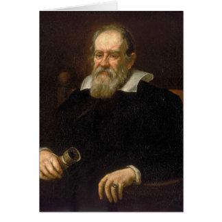 Retrato de Galileo Galilei por Justus Sustermans Cartão Comemorativo