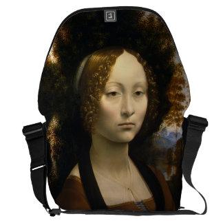 Retrato de Ginevra de Benci por Leonardo da Vinci Bolsa Mensageiro