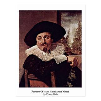 Retrato de Isaak Abrahamsz Massa por Frans Hals Cartão Postal