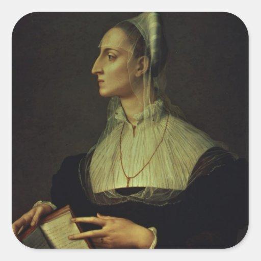 Retrato de Laura Battiferri, c.1555-60 (painel) Adesivos Quadrados