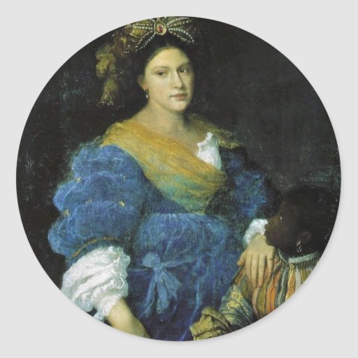Retrato de Laura De'Dianti por Tiziano Vecellio Adesivos Redondos