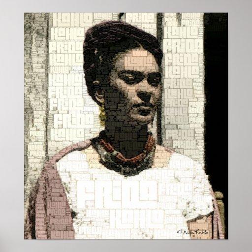 Retrato de matéria têxtil de Frida Kahlo Impressão