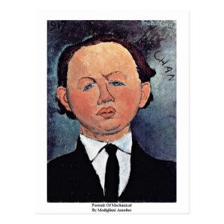 Retrato de mecânico por Modigliani Amedeo Cartão Postal