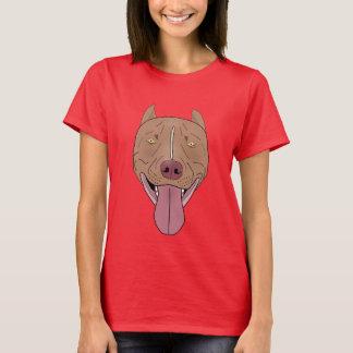 Retrato de sorriso do pitbull - linha arte camiseta
