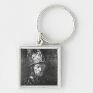 Retrato de um homem com um capacete dourado, 1648 chaveiro quadrado na cor prata