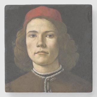 Retrato de um homem novo por Botticelli Porta-copos De Pedra