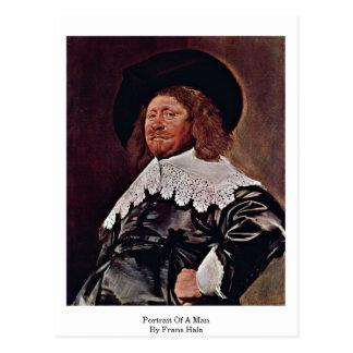 Retrato de um homem por Frans Hals Cartão Postal