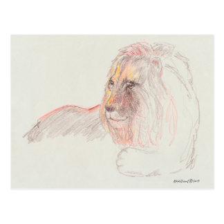 Retrato de um leão em repouso no cartão 5,6 x 4,25