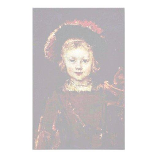 Retrato de um menino (filho de Titus Rembrandt?) Papel Personalizado