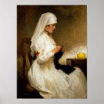 Retrato de uma enfermeira da cruz vermelha posteres