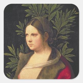 Retrato de uma jovem mulher, 1506 adesivo quadrado