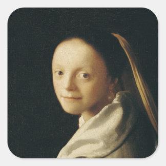 Retrato de uma jovem mulher, c.1663-65 adesivos quadrados