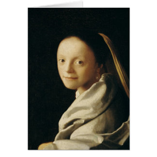 Retrato de uma jovem mulher, c.1663-65 cartão comemorativo