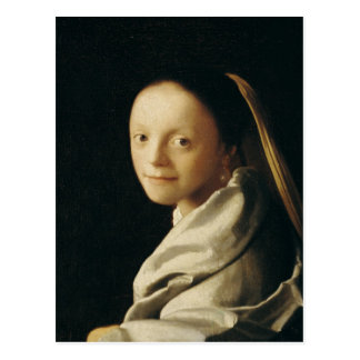 Retrato de uma jovem mulher, c.1663-65 cartão postal