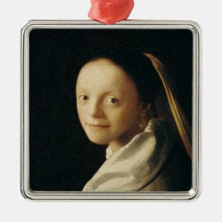 Retrato de uma jovem mulher, c.1663-65 enfeites