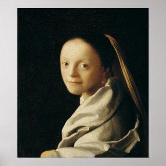 Retrato de uma jovem mulher, c.1663-65 pôsteres