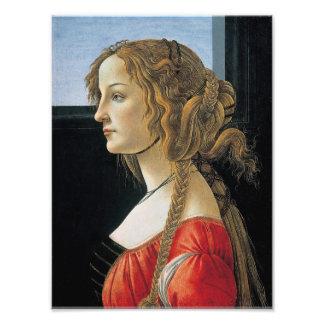 Retrato de uma jovem mulher por Botticelli Impressão De Foto