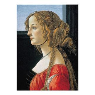 Retrato de uma jovem mulher por Botticelli Convite
